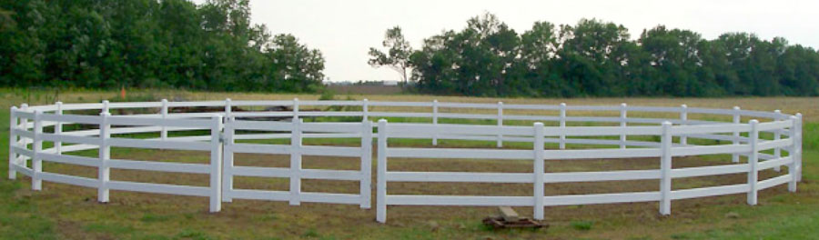 4 rail fence with a 5ft tall by 6ft wide gate