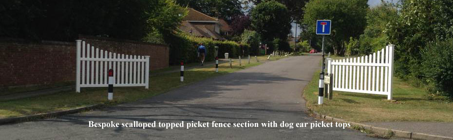 Bespoke scalloped topped picket fence section with dog ear picket tops