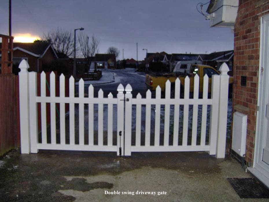 Picket fencing wild flower lawns meadows buy for Ready made driveway gates