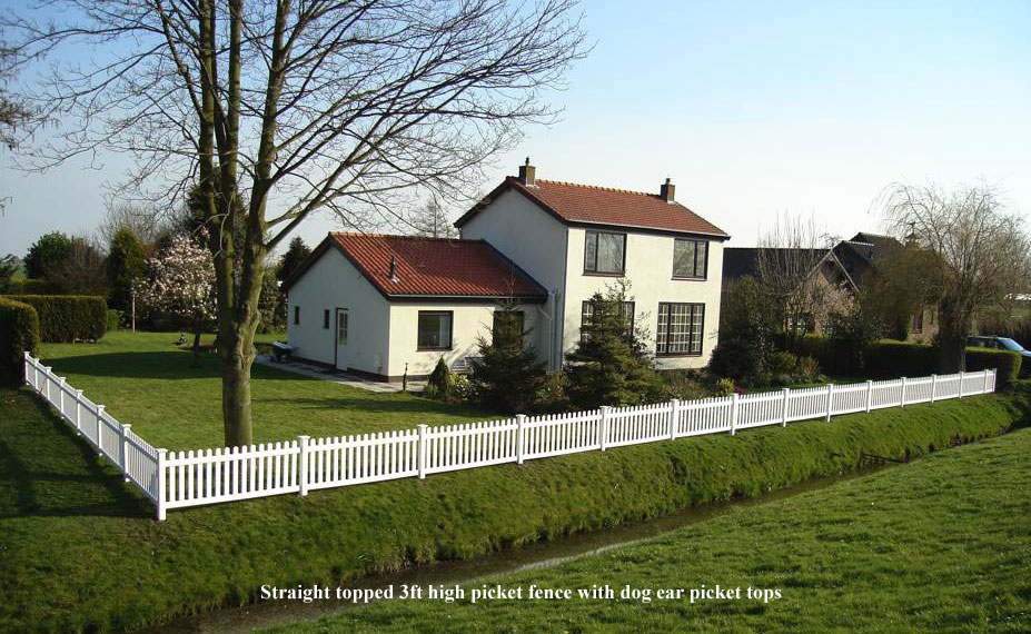 Straight topped 3ft high picket fence with dog ear picket tops